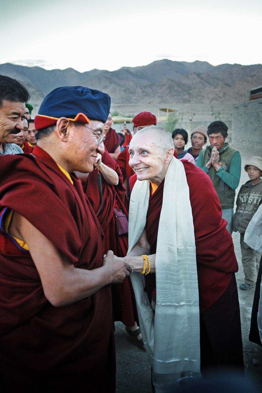 H.H. greeting Jetsunma at Druk White Lotus school, Shey, Ladakh