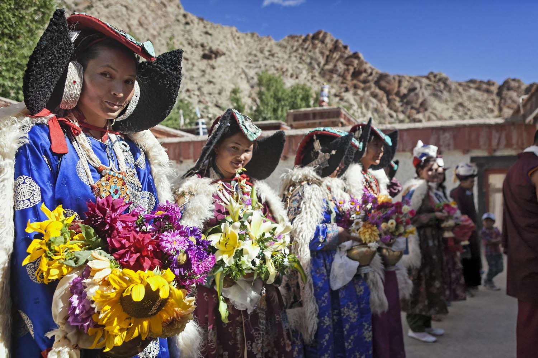 Ladakhi women in the finest, Hemis Monastery, Ladakh, India