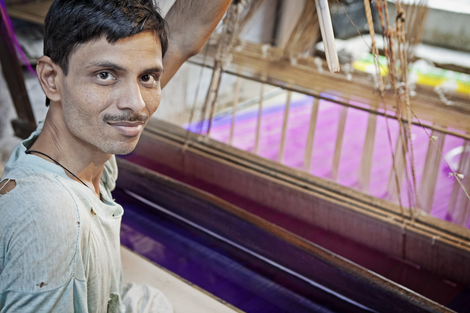 Saree weaver, Banares, India