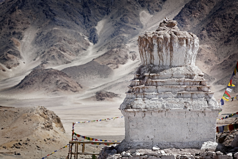 Stupa & desert, Stakna Monastery, Ladakh, India