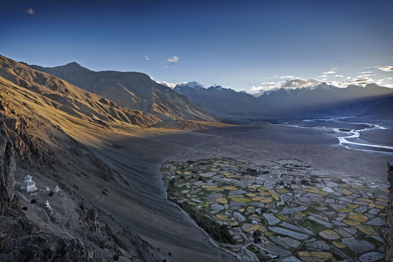Setting sun from Stongde Monastery, Zanskar, Ladakh, India