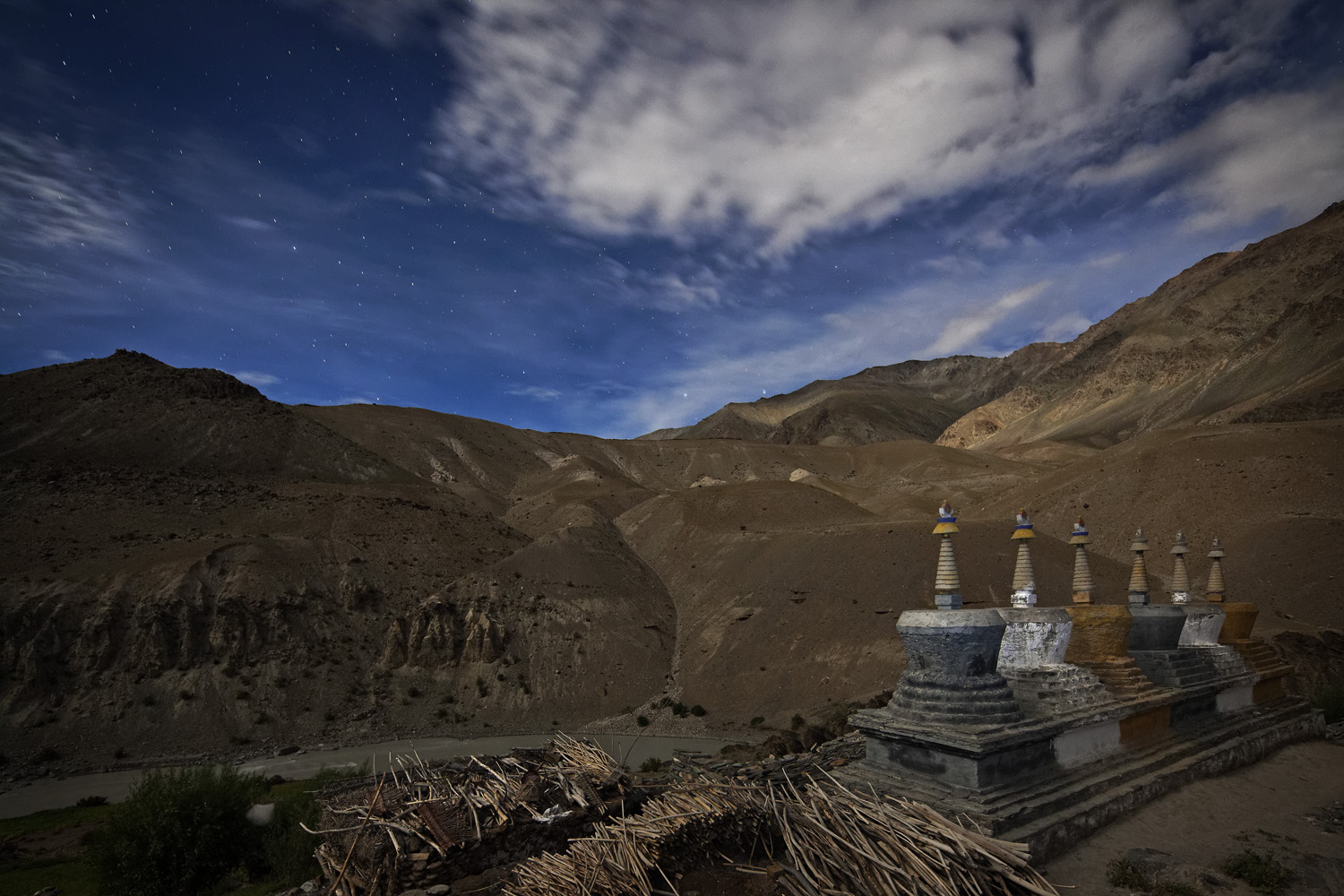 Full-moonlit night & Stupa, Purne, Zanskar, India