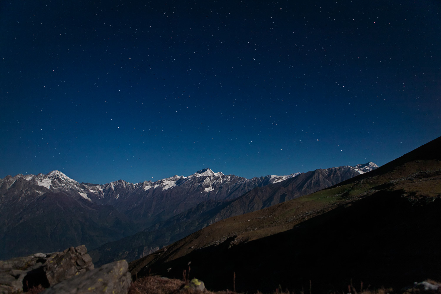 Full-moonlit night, near Brighu lake, Himachal, India