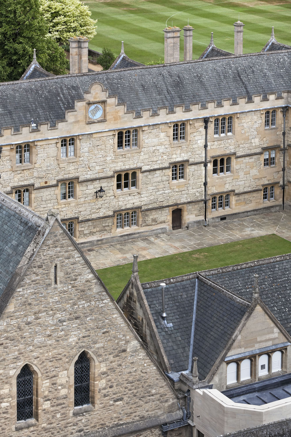 View of Front Quad from Chapel Tower, Merton College, Oxford, UK