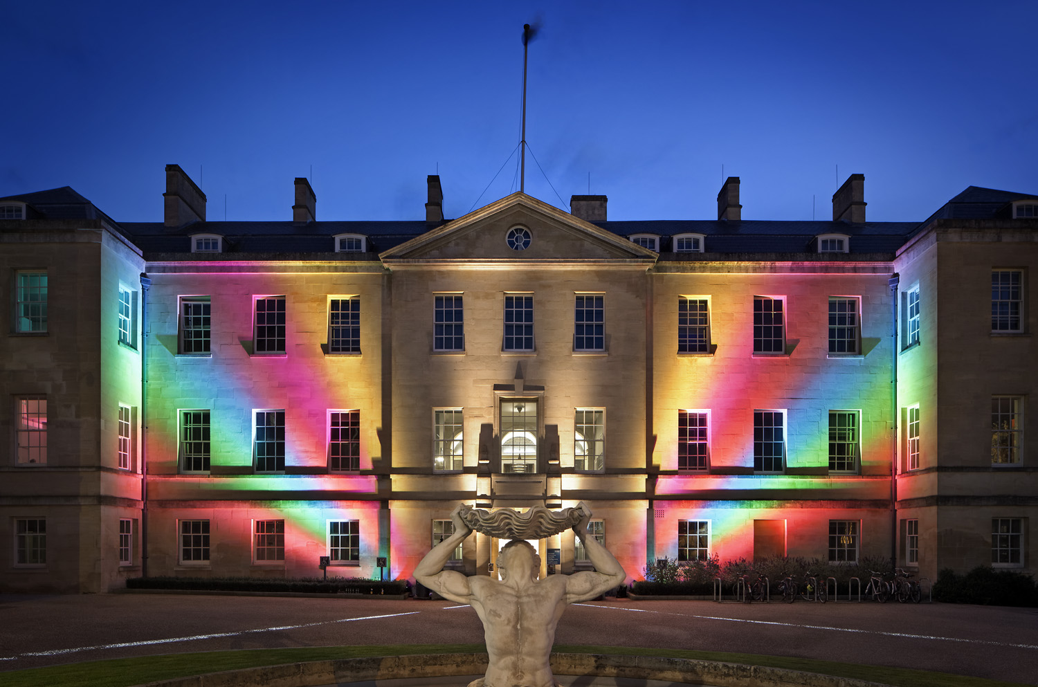 The Radcliffe Humanities building in Oxford lit up for the 2017 Night of Heritage Light.