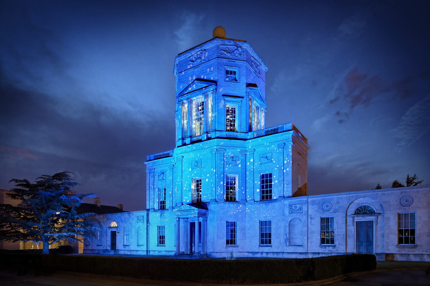 The Radcliffe Observatory building in Oxford lit up for the 2017 Night of Heritage Light.