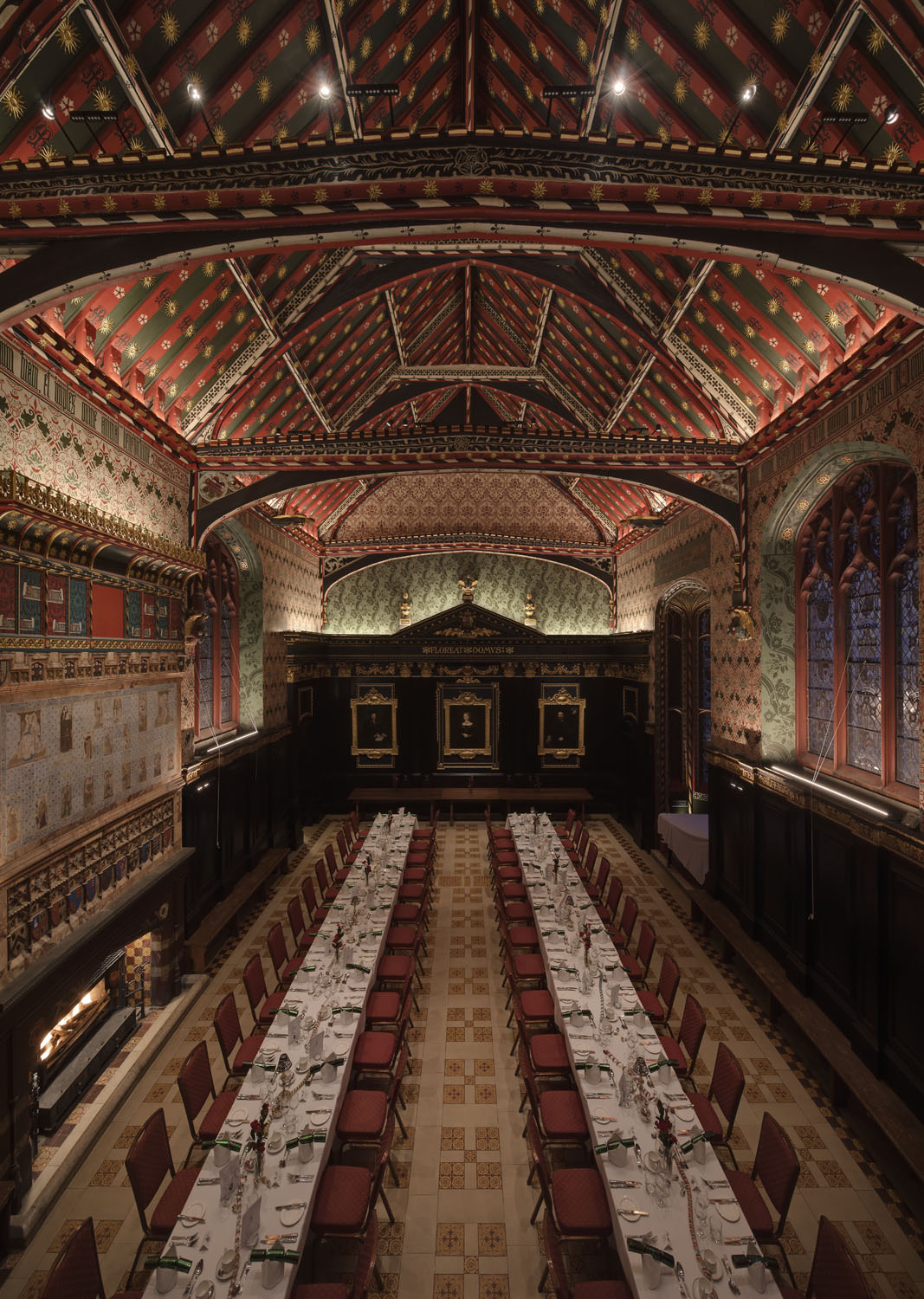 Interior photography of The Old Hall, Queen's College, Cambridge, for Hoare Lea Lighting post lighting upgrade.
