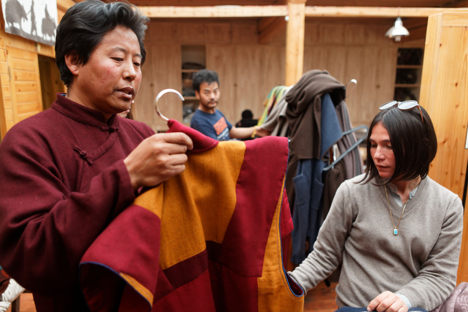 Dechen Yeshi (founder of Norlha) going through the new collection at the Norlha atelier, Ritoma, Amdo, Tibet