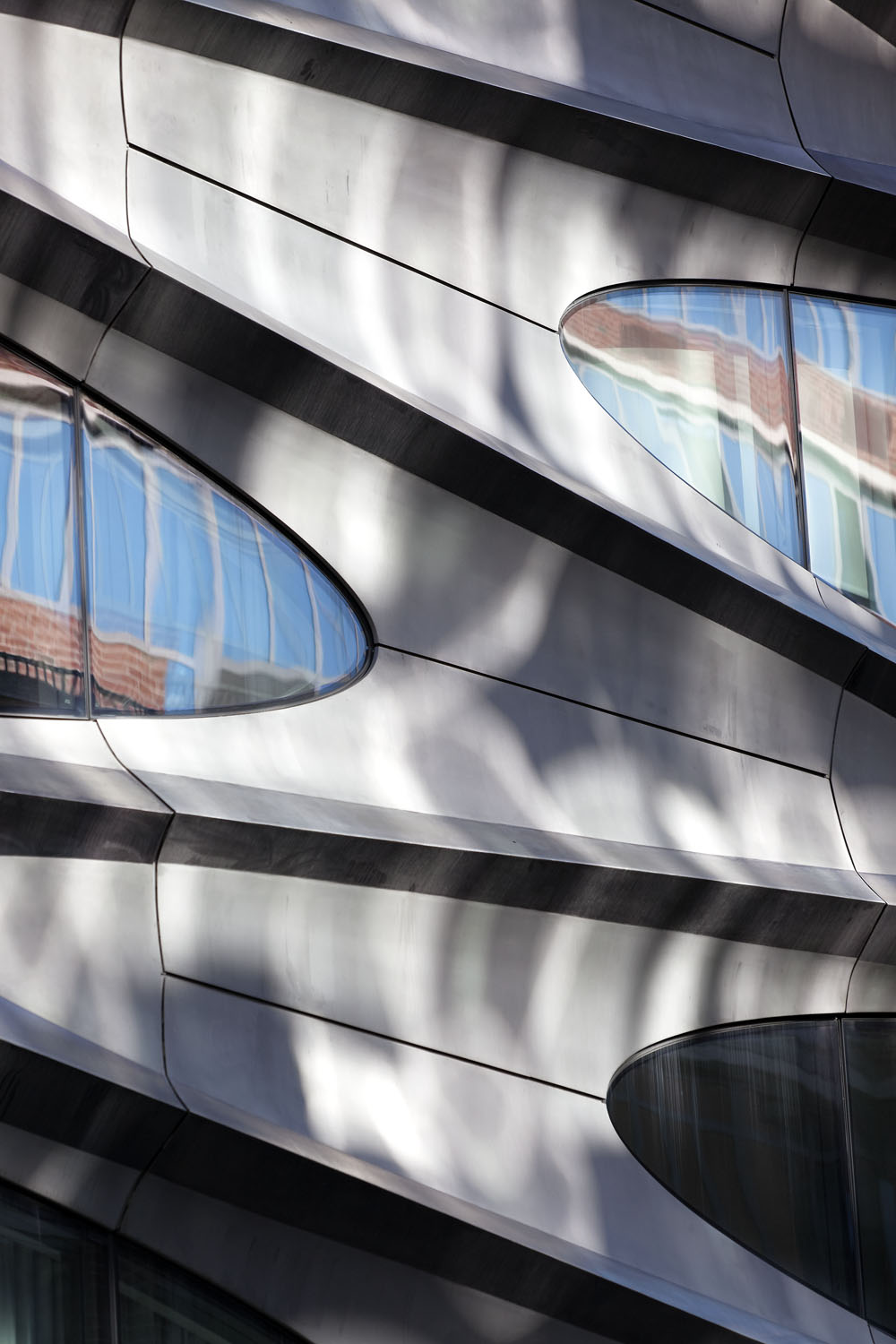 Detail of 520, West 28th Street by Zaha Hadid. Shot from and around the High Line, Manhattan, New York City, USA.