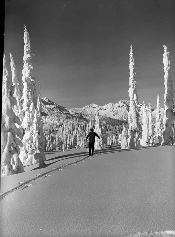 Skier on Mt. Revelstoke Summit [DN-211]
