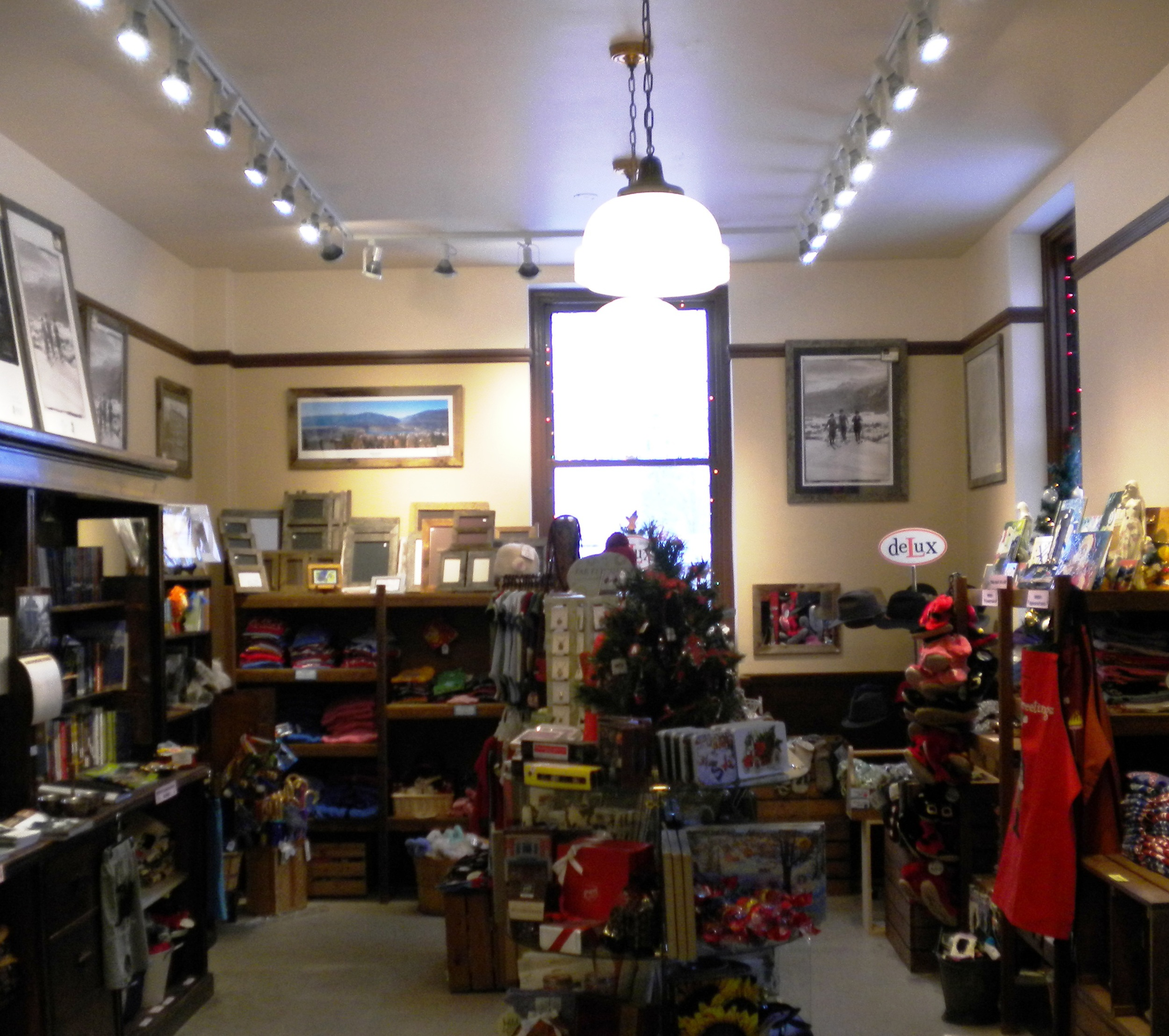 The gift shop has a bright new look with the installation of modern track lighting, and heritage lamps from the former Selkirk School.