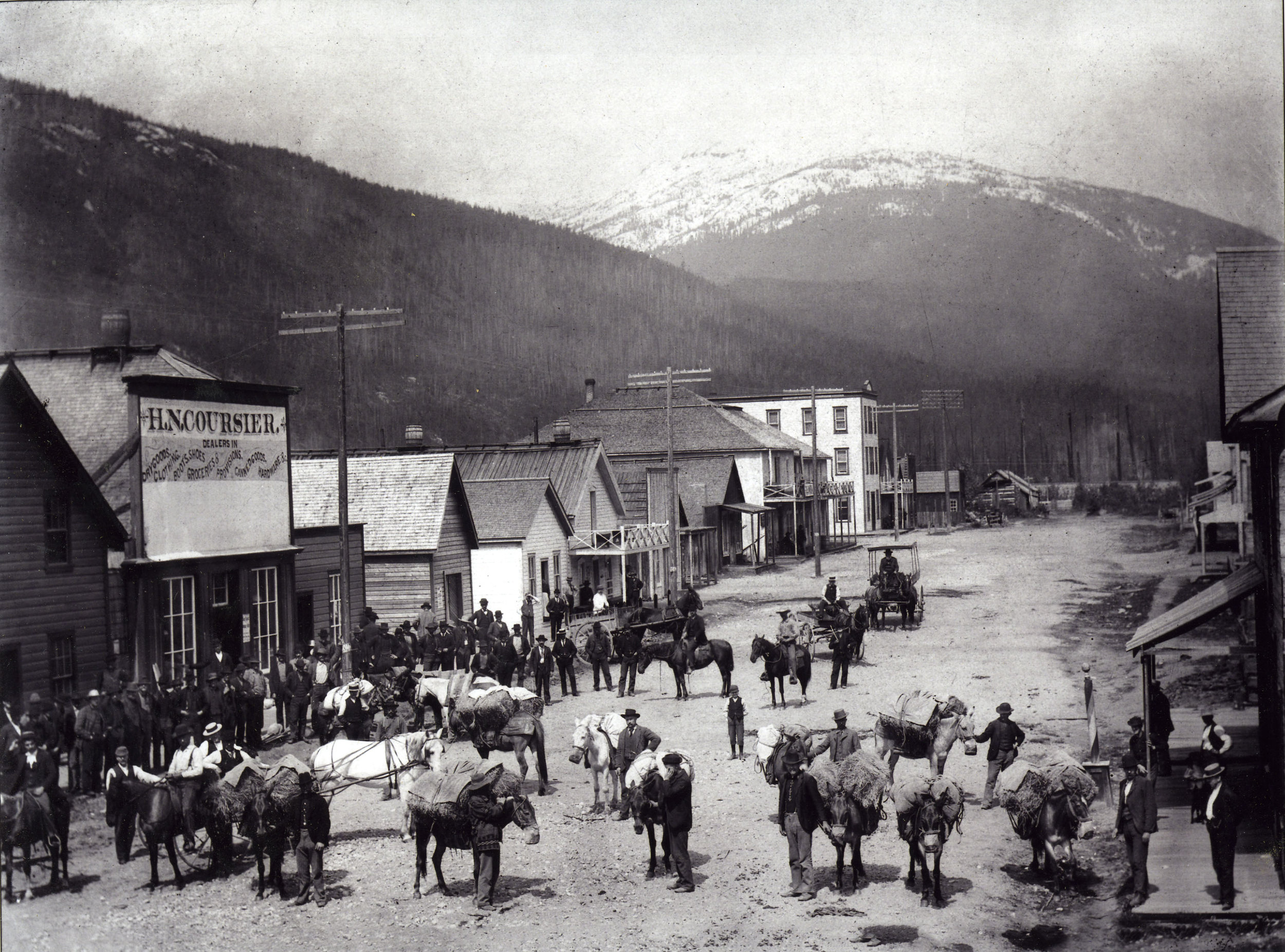 George Laforme's pack train on Front Street.