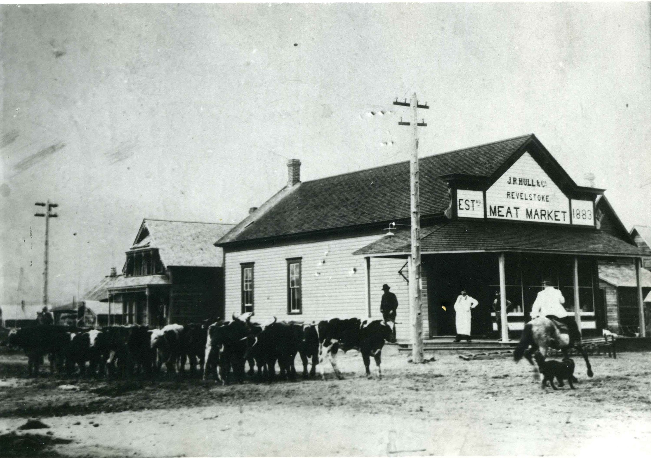 J.R. Hull & Co. Meat Market and Abrahamson home, c.1900