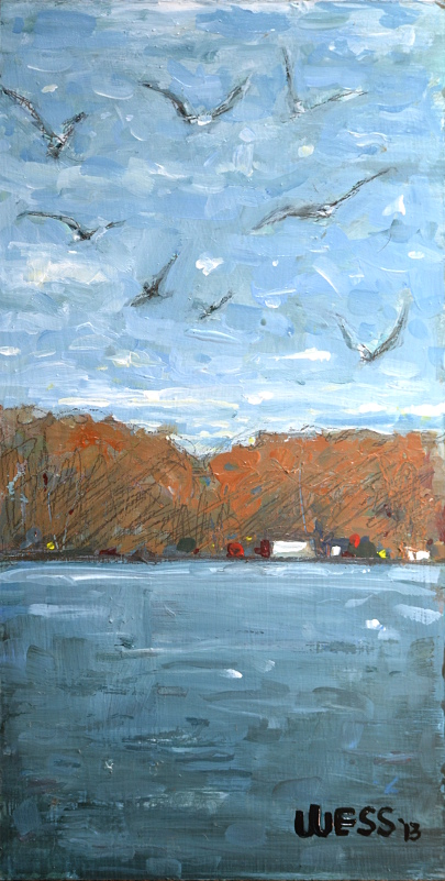 "A Squabble of Seagulls, 14x7"", $75"