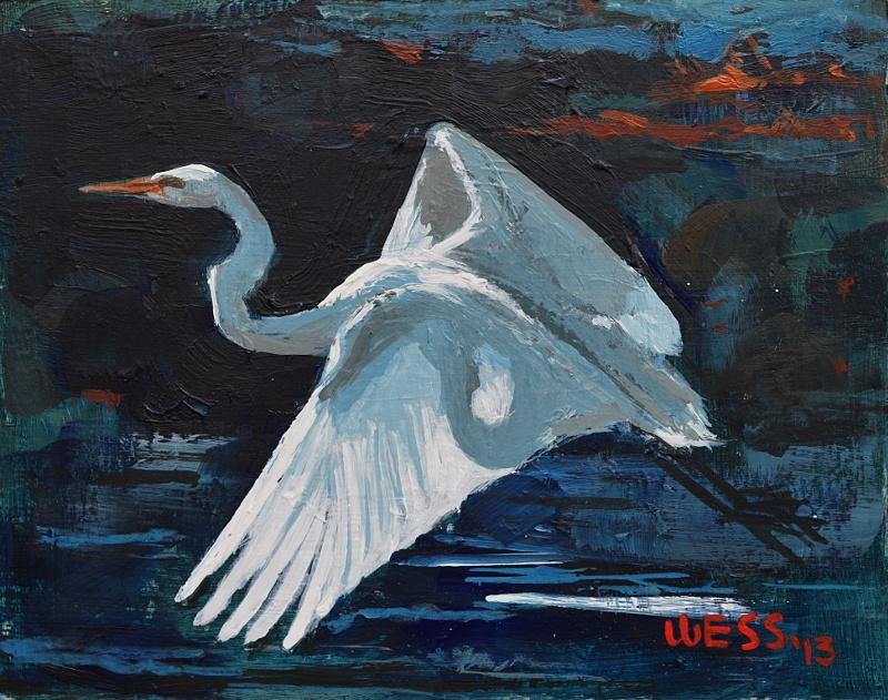"Egret Landing,  8x10"", $75"