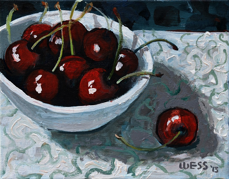 "Bowl of Cherries,  8x10"", SOLD"