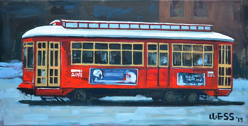 "Red Streetcar #4  10x20"", SOLD"