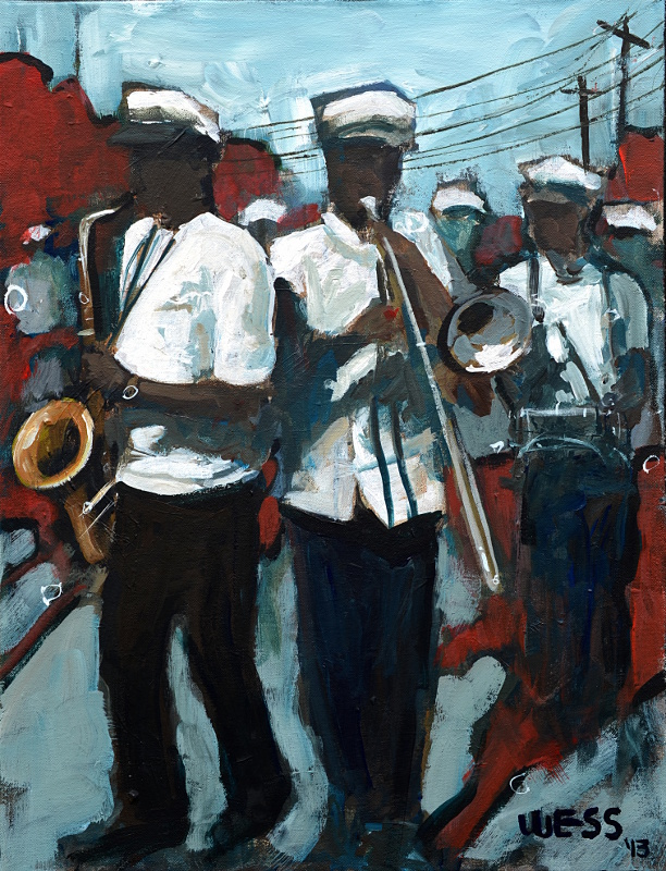 "Second Line Brass  24x18"", SOLD"