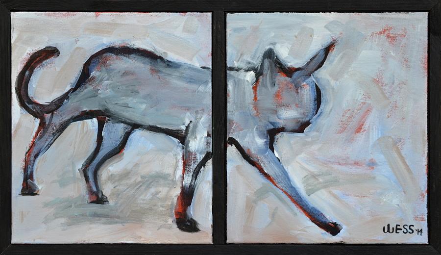 "Alleycat, framed size: 17.5x30.5"", $400  (no. 1026)"
