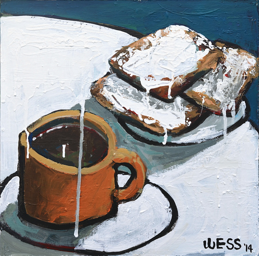 "Coffee & Beignets #6, 16x16"", $250"