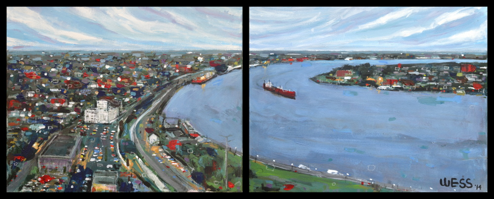 "The River, diptych, 2-16x20"", SOLD"
