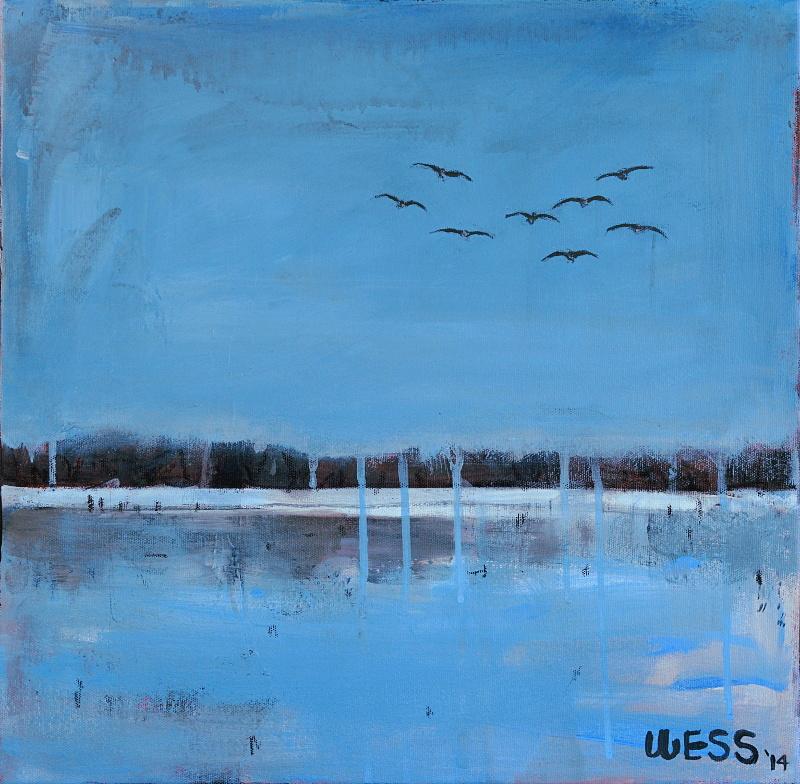 """Geese Landing, 16x16"""", SOLD"""