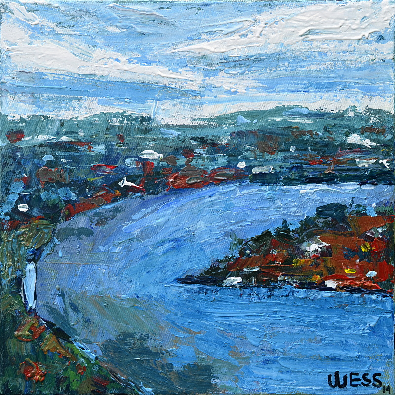 "A Bend in the River #4, 16x16"", $200"