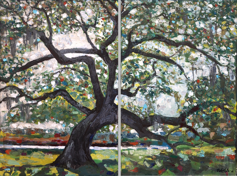 "Live Oak, diptych, 2-36x24"", SOLD"