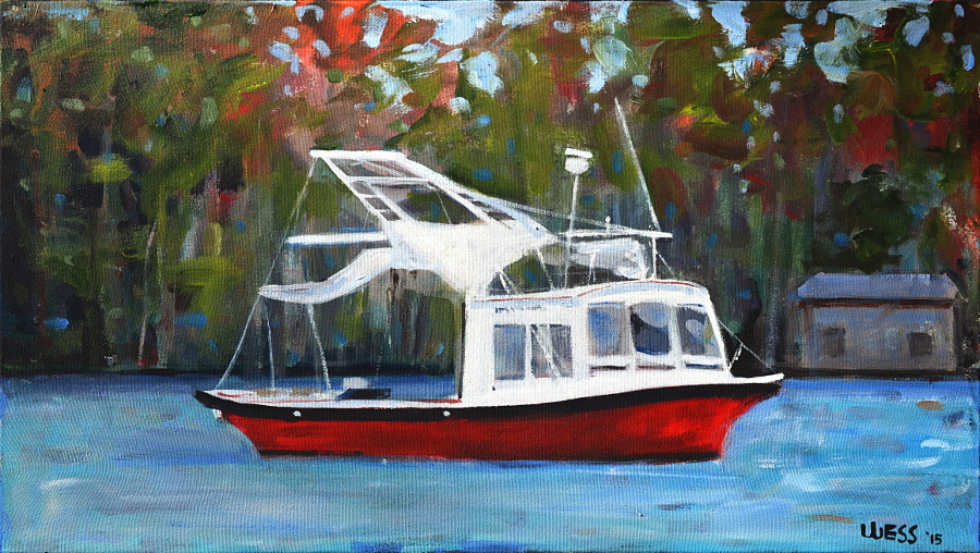 "Fishing Trawler, 18x32"", $400  (no. 1007)"