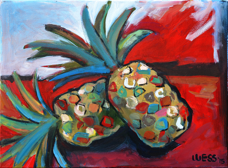 "Pineapples #2, 18x24"", $300  (no. 1009)"