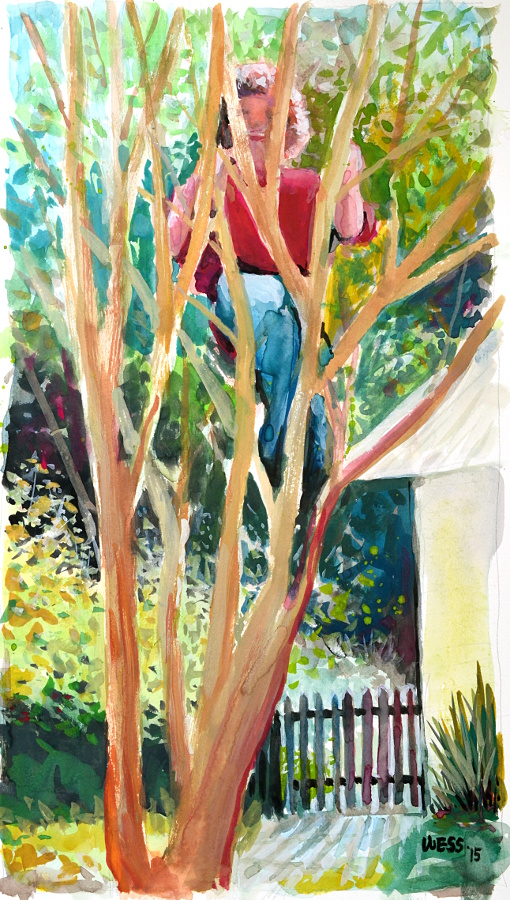 "Climbing the Crepe Myrtle, 13.5x7.5"", $125"