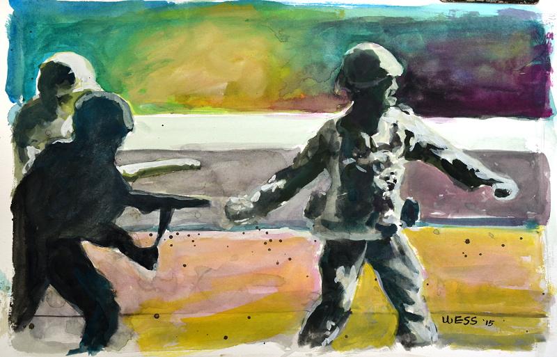 "Army Men, 9x13.5"", gouache on paper,$125"