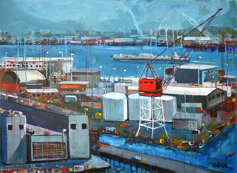 "Industry, Red Crane, 36x48"", SOLD"