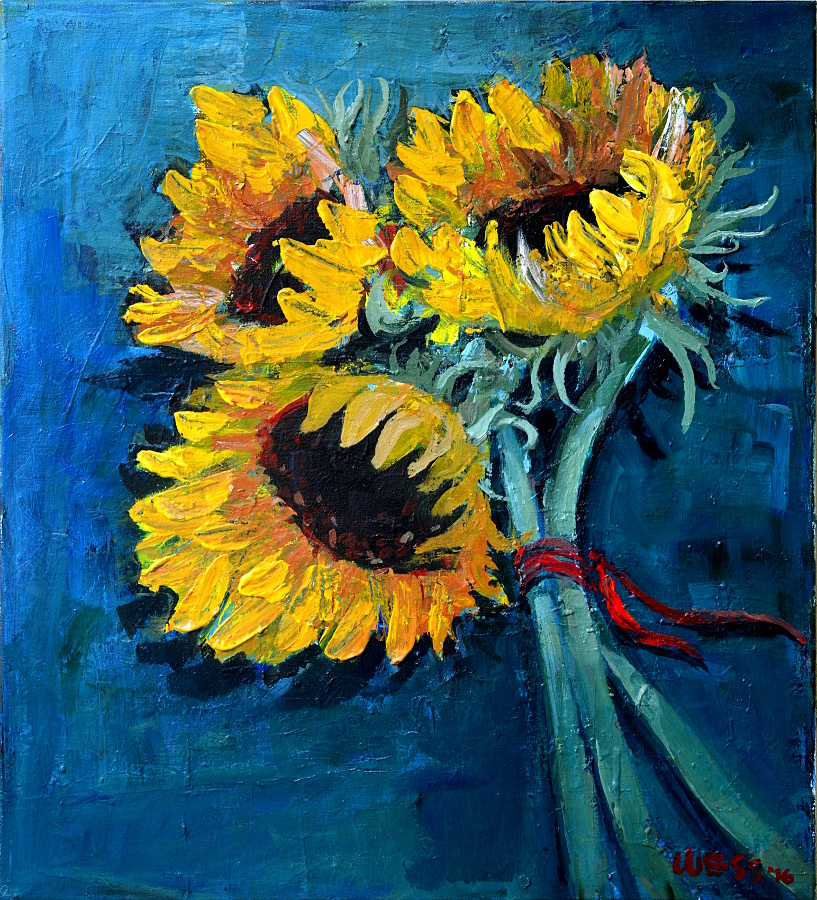 "Three Sunflowers, 20x18"", $350"