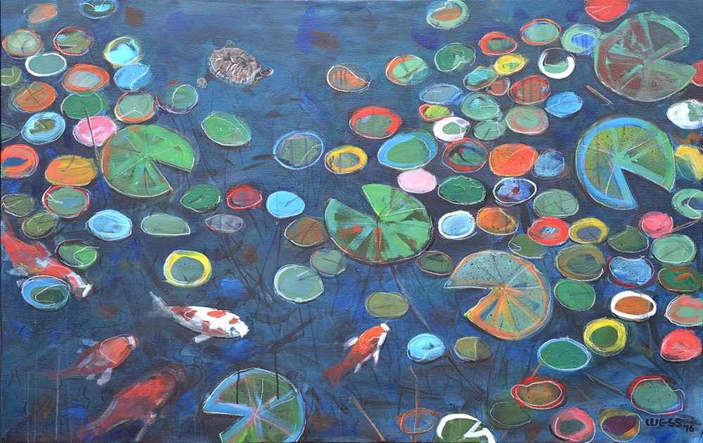 "Vibrant Lilypads, 36x57"", $1600"