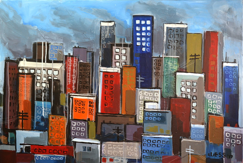 "Untitled Cityscape, 24x36"", $675"