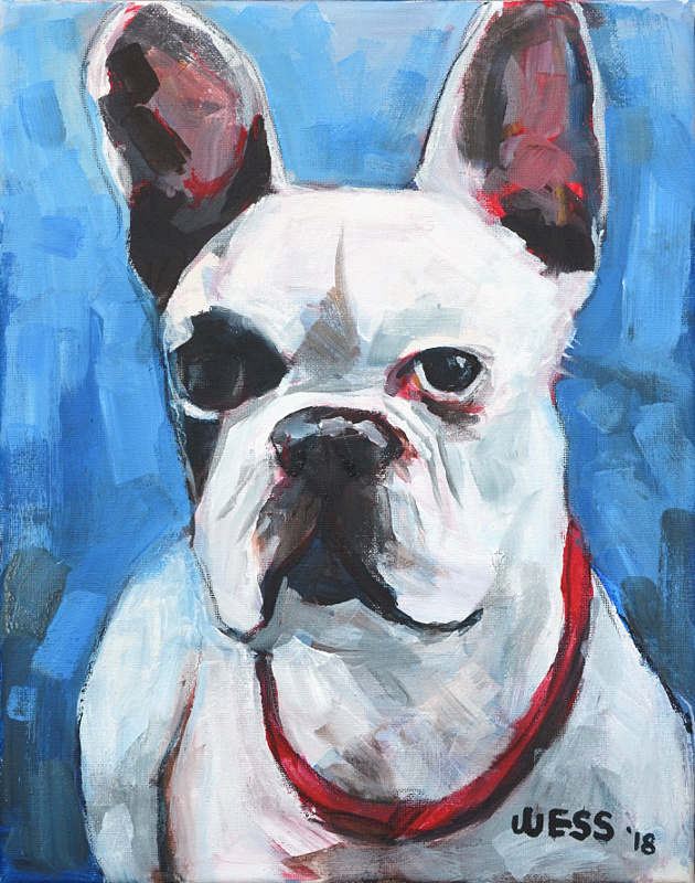 "Frenchie, 14x11"", $150"