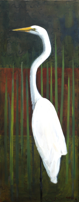 "Great Heron, 60x24"", $1100"