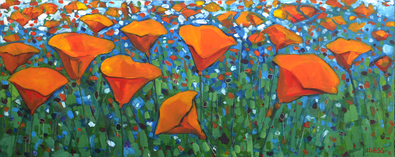 "California Poppies, 24x60"", $1100"