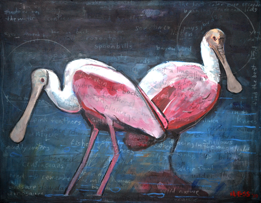 "Notes on a Landscape: Spoonbills, 24x30"", SOLD"