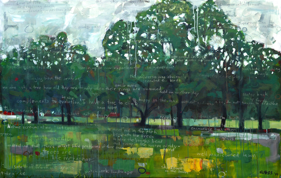 "Notes on a Landscape: Trees are Like Metaphors, 59x37.5"", $1750"