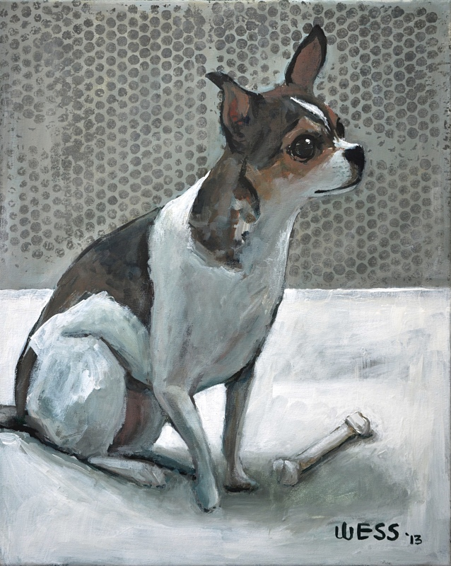 Dog with Bone, framed, sale price: $250