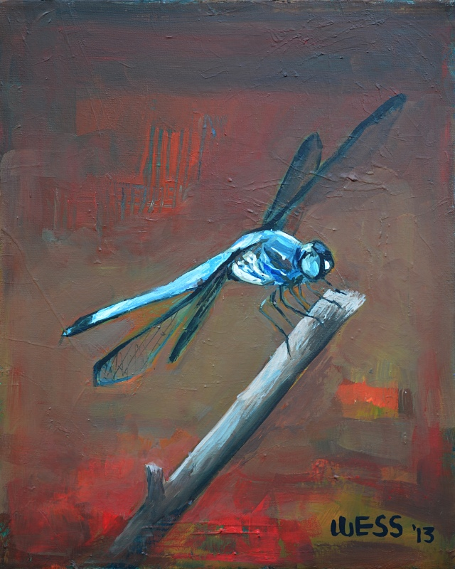 Blue Dragonfly, framed, sale price: $200