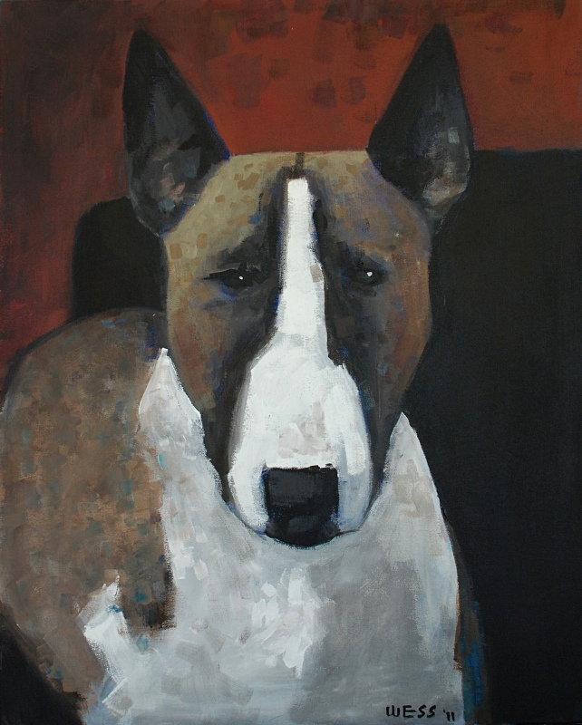"Bull Terrier Stare, 30x24"", was $500, sale price: $300"