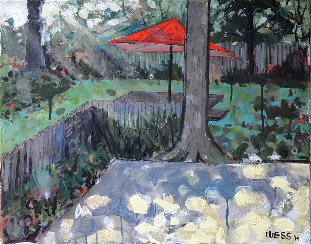 "Backyard w/ Orange Umbrella, 24x30"", was $500, sale price: $300"