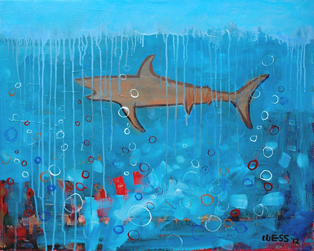 "Shark Attack, 24x30"", was $500, sale price: $300"