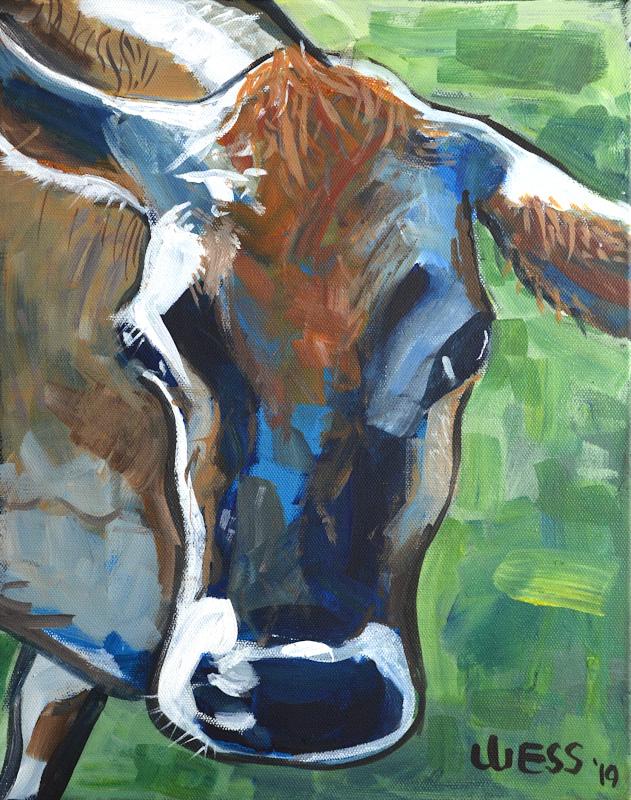 "Curious Cow, 14x11"", $200"