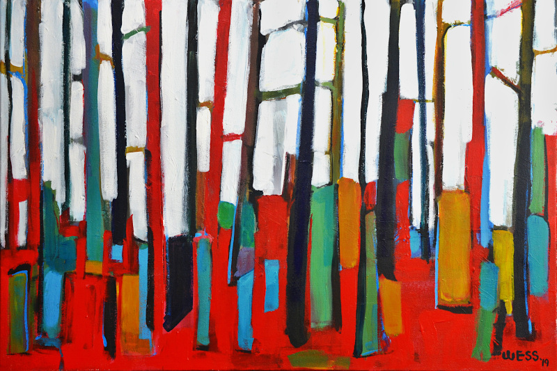 """Standing Red #2, 24x36"""", $650"""