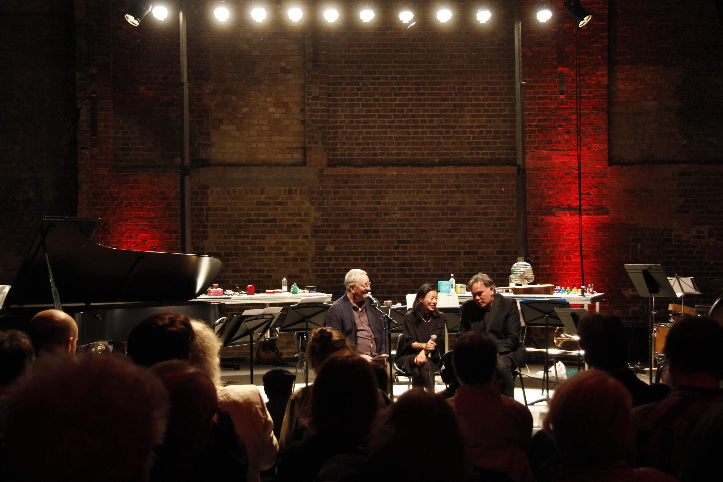 Discussing Familiar/Unfamiliar concert with Steve Beresford and Stewart Lee at the Spitalfields Festival, 2014