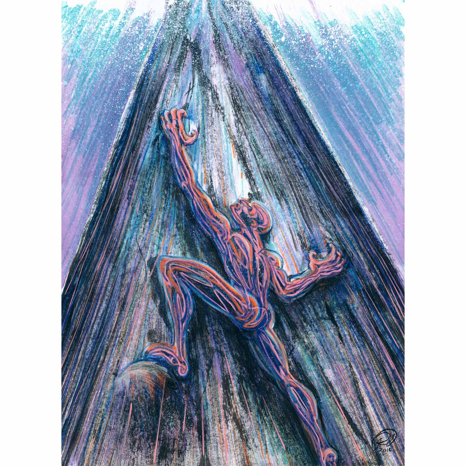 """Why Do I Keep Climbing?  2016  Colored pencil, paint marker, and ink on cotton rag paper  11"""" x 15"""""""